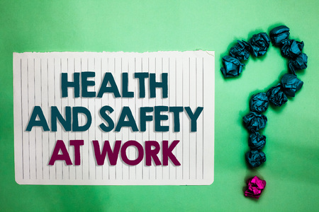 Conceptual hand writing showing Health And Safety At Work. Business photo text Secure procedures prevent accidents avoid danger white notepad with words teal blue lobs form greenery background