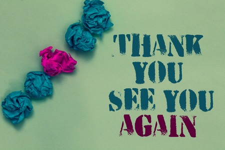 Writing note showing Thank You See You Again. Business photo showcasing Appreciation Gratitude Thanks I will be back soon Drawn blue and red words teal color paper lump mid pink on blue floor