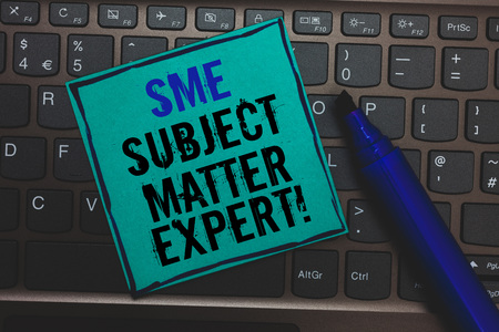 Text sign showing Sme Subject Matter Expert. Conceptual photo Authority in a particular area or topic Domain Huge button with computer keyboard black lined written blue page marker pen