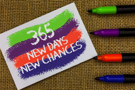 Word writing text 365 New Days New Chances. Business concept for Starting another year Calendar Opportunities Colorful waves with white page and texts color marker laid in line on jute sack