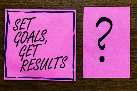 Text sign showing Set Goals, Get Results. Conceptual photo Establish objectives work for accomplish them Violet color black lined sticky note with letters black question mark