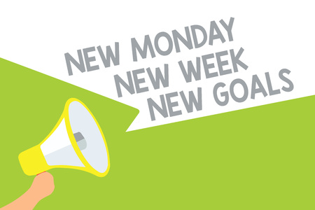 Text sign showing New Monday New Week New Goals. Conceptual photo Be positive every start of the week Megaphone loudspeaker speech bubbles important message speaking out loud