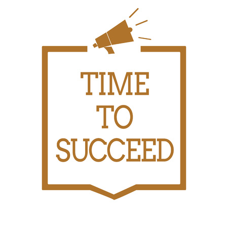 Text sign showing Time To Succeed. Conceptual photo Thriumph opportunity Success Achievement Achieve your goals Megaphone loudspeaker brown frame communicating important information 스톡 콘텐츠