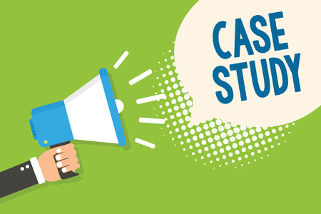 Text sign showing Case Study. Conceptual photo A subject matter to be discussed and related to the topic Man holding megaphone loudspeaker speech bubble green background halftone