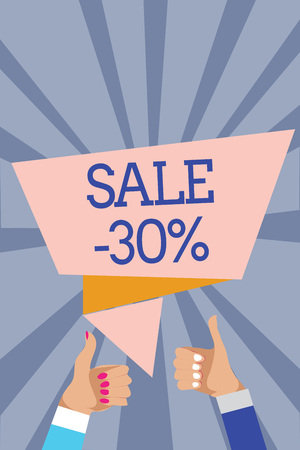 Conceptual hand writing showing Sale 30. Business photo text A promo price of an item at 30 percent markdown Man woman hands thumbs up approval speech bubble rays background
