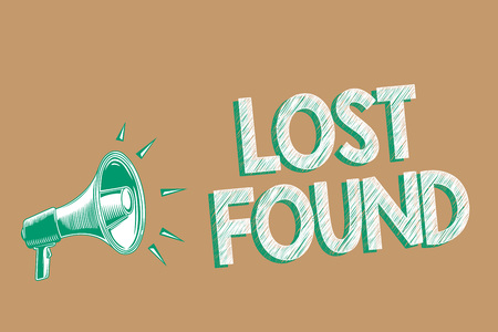 Conceptual hand writing showing Lost Found. Business photo showcasing Things that are left behind and may retrieve to the owner Megaphone brown background important message speaking loud Imagens - 106443174