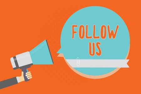 Conceptual hand writing showing Follow Us. Business photo showcasing To invite a person or group to join his company and take rules Man holding megaphone blue speech bubble orange background Фото со стока
