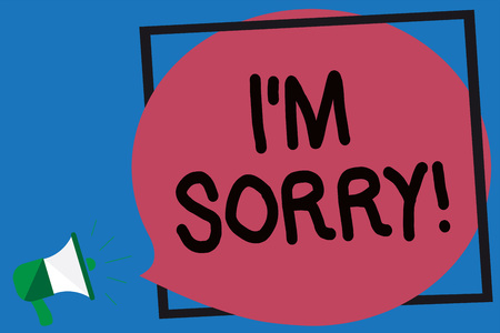 Conceptual hand writing showing I am Sorry. Business photo showcasing To ask for forgiveness to someone you unintensionaly hurt Megaphone loud screaming blue background frame speech bubble