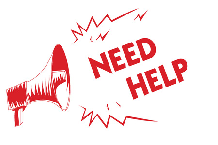 Red megaphone loudspeaker with text need help