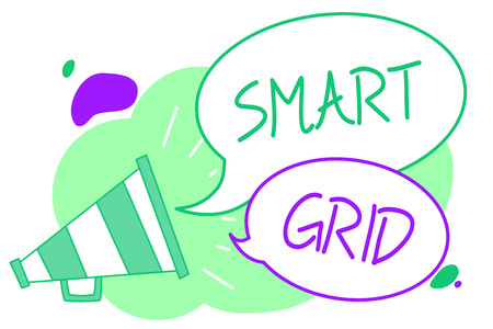 Handwriting text Smart Grid. Concept meaning includes of operational and energy measures including meters Megaphone loudspeaker speech bubbles important message speaking out loud