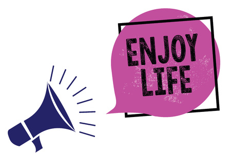 Handwriting text Enjoy Life. Concept meaning Any thing, place,food or person, that makes you relax and happy Megaphone loudspeaker speaking loud screaming frame purple speech bubble Stock Photo