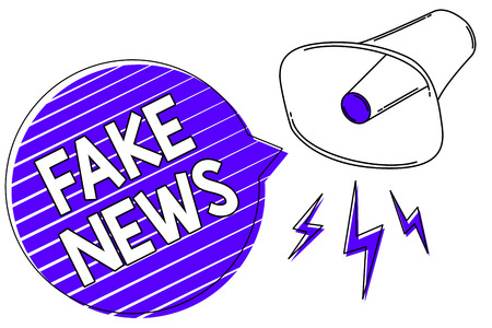 Writing note showing Fake News. Business photo showcasing Giving information to people that is not true by the media Megaphone loudspeaker blue speech bubble stripes important message 写真素材