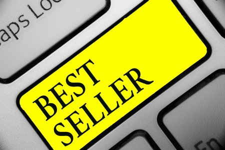 Conceptual hand writing showing Best Seller. Business photo showcasing book or other product that sells in very large numbers Keyboard yellow key computer computing reflection document