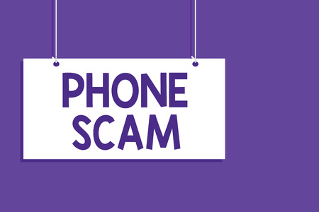 Conceptual hand writing showing Phone Scam. Business photo showcasing getting unwanted calls to promote products or service Telesales Hanging board message open close sign purple background