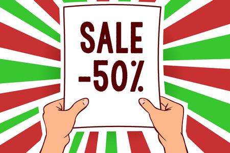 Writing note showing Sale 50. Business photo showcasing A promo price of an item at 50 percent markdown Man holding paper important message remarkable red rays bright ideas