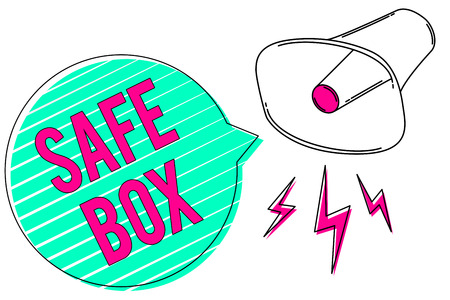 Conceptual hand writing showing Safe Box. Business photo showcasing A small structure where you can keep important or valuable things Megaphone green speech bubble stripes important loud message