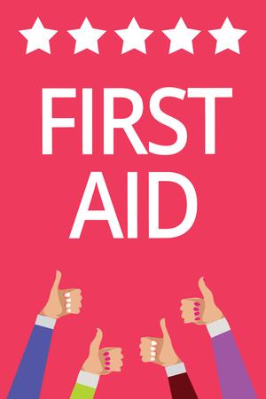 Word writing text First Aid. Фото со стока
