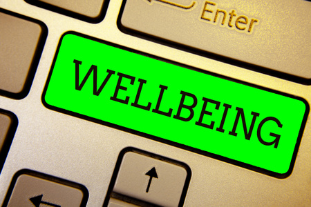 Writing note showing Wellbeing. Business photo showcasing A good or satisfactory condition of existence including health Keyboard green key Intention computer computing reflection document