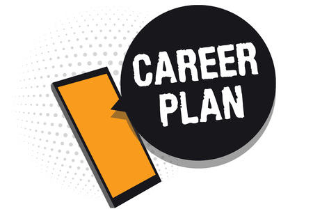 Conceptual hand writing showing Career Plan. Business photo text ongoing process where you Explore your interests and abilities Cell phone receiving messages chats information using applications