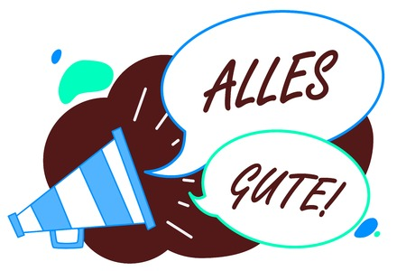 Word writing text Alles Gute. Business concept for german translation all the best for birthday or any occasion Megaphone loudspeaker speech bubbles important message speaking out loud Foto de archivo