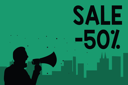 Word writing text Sale 50. Business concept for A promo price of an item at 50 percent markdown Man holding megaphone speaking politician making promises green background