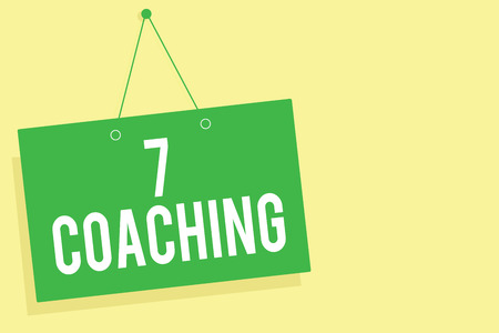 Word writing text 7 Coaching. Business concept for Refers to a number of figures regarding business to be succesful Green board wall message communication open close sign yellow background Stock Photo