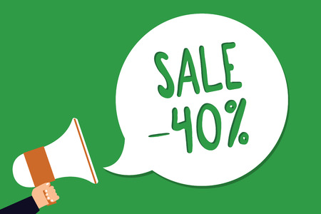 Conceptual hand writing showing Sale 40. Business photo showcasing A promo price of an item at 40 percent markdown Man holding megaphone loudspeaker screaming green background Imagens - 106481912