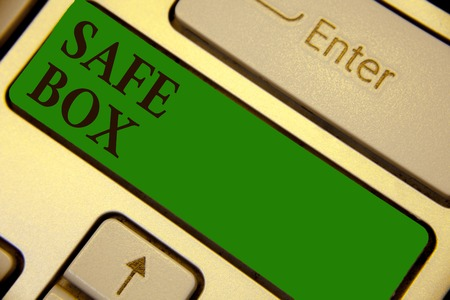 Conceptual hand writing showing Safe Box. Business photo text A small structure where you can keep important or valuable things Keyboard green key create computer computing reflection document