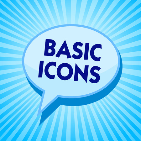 Word writing text Basic Icons. Business concept for pictogram or ideogram displayed on a computer screen or phone Blue speech bubble message reminder rays shadow important intention saying