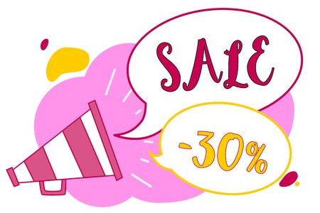 Word writing text Sale 30. Business concept for A promo price of an item at 30 percent markdown Megaphone loudspeaker speech bubbles important message speaking out loud Foto de archivo