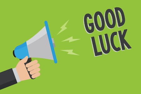 Writing note showing Good Luck. Business photo showcasing A positive fortune or a happy outcome that a person can have Man holding megaphone loudspeaker green background message speaking