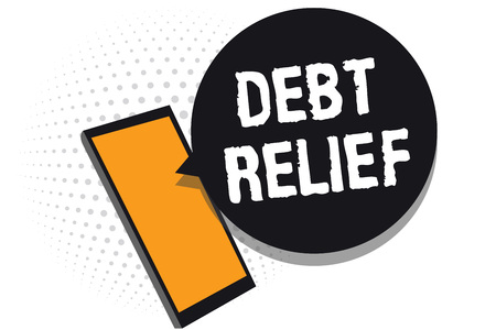 Conceptual hand writing showing Debt Relief. Business photo text partial or total remission of it especially those by countries Cell phone receiving messages chats information using applications