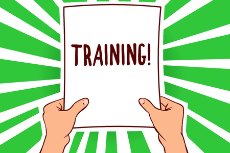 Handwriting text Training. Concept meaning An activity occurred when starting a new job project or work Man holding paper important message remarkable green rays enlighten ideas Фото со стока
