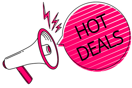 Text sign showing Hot Deals. Conceptual photo An agreement through which one of the paties is offered and accept Megaphone loudspeaker pink speech bubble stripes important loud message Stok Fotoğraf