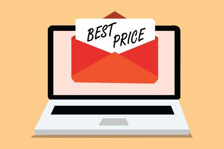 Handwriting text Best Price. Concept meaning Buyer or seller can obtain something for a product sold or buy Computer receiving email important message envelope with paper virtual Stok Fotoğraf