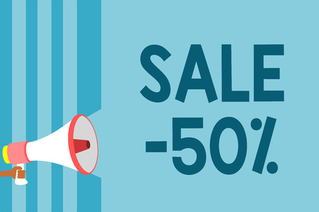 Text sign showing Sale 50. Conceptual photo A promo price of an item at 50 percent markdown Megaphone loudspeaker blue stripes important message speaking out loud
