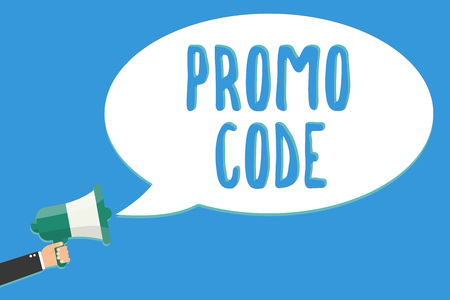 Text sign showing Promo Code. Conceptual photo digital numbers that give you good discount on certain product Man holding megaphone loudspeaker speech bubble message speaking loud Фото со стока