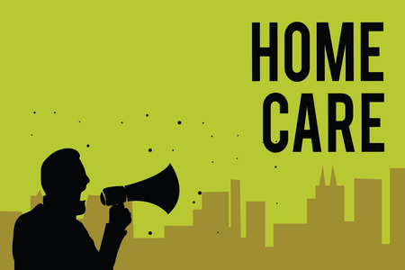 Handwriting text Home Care. Concept meaning Place where people can get the best service of comfort rendered Man holding megaphone speaking politician making promises green background Stock Photo