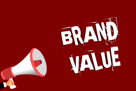 Handwriting text Brand Value. Concept meaning company generates from product with recognizable for its names Man holding megaphone loudspeaker red background message speaking loud Banco de Imagens