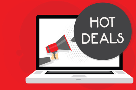 Handwriting text writing Hot Deals. Concept meaning An agreement through which one of the paties is offered and accept Man holding Megaphone loudspeaker computer screen talking speech bubble