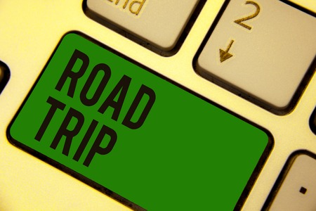 Writing note showing Road Trip. Stock Photo