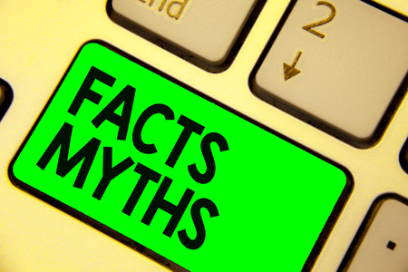 Conceptual hand writing showing Facts Myths.