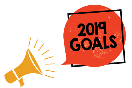 Writing note showing 2019 Goals. Business photo showcasing A plan to do for something new and better for the coming year Megaphone loudspeaker speaking screaming frame orange speech bubble Stock Photo