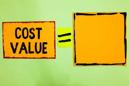 Writing note showing Cost Value.