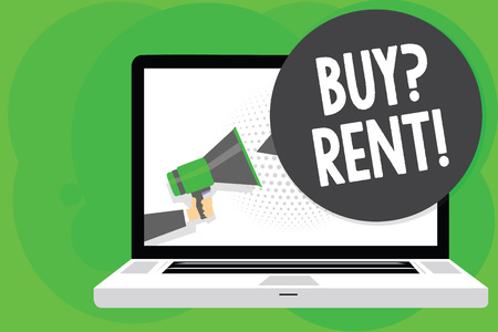 Conceptual hand writing showing Buy question Rent. Business photo text Group that gives information about renting houses Man holding Megaphone loudspeaker computer screen speech bubble