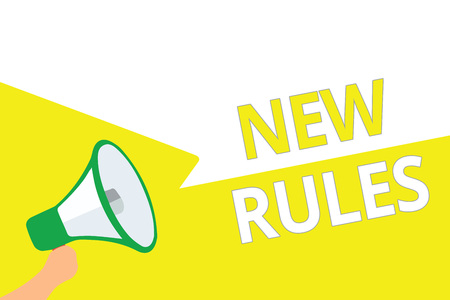 Conceptual hand writing showing New Rules. Business photo showcasing A state of changing an iplemented policy for better upgrade Megaphone speech bubbles important message speaking out loud Stock Photo