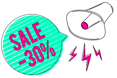 Conceptual hand writing showing Sale 30. Business photo showcasing A promo price of an item at 30 percent markdown Megaphone green speech bubble stripes important loud message