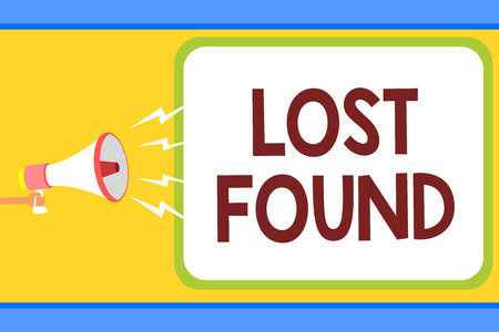 Conceptual hand writing showing Lost Found. Business photo text Things that are left behind and may retrieve to the owner Man holding megaphone loudspeaker speech bubble message speaking