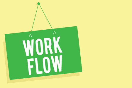 Word writing text Work Flow. Business concept for Continuity of a certain task to and from an office or employer Green board wall message communication open close sign yellow background