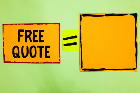 Writing note showing Free Quote. Business photo showcasing A brief phrase that is usualy has impotant message to convey Orange paper notes reminders equal sign important messages to remember